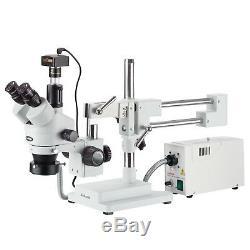Amscope 3.5x-90x Simul-focal Trinocular Boom Microscope + 5mp Appareil Photo Numérique
