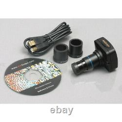Amscope 3.5x-90x Simul-focal Zoom Stereo Microscope 5mp Camera Articulating Arm