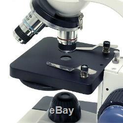 Amscope 40-1000x Led Étudiant Microscope + Usb Appareil Photo Numérique Gros & Fine Focus