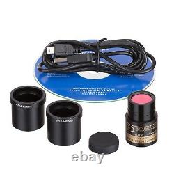 Amscope 40-2000x Digital Binocular Compound Led Microscope 3d Stage + Caméra 2mp