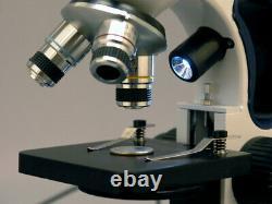 Amscope 40x-1000x Cordless Compound Microscope + Camera Top & Bottom Led Lights
