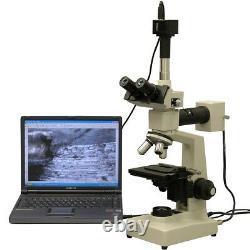 Amscope 40x-1000x Deux Microscopes Métallurgiques Légers + Appareil Photo Numérique 5mp