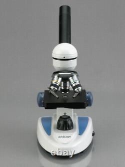 Amscope 40x-1000x Student Microscope Metal Frame + 3mp Objectif En Verre Appareil Photo Numérique