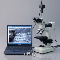Amscope 40x-1000x Two Light + Microscope Métallurgique 9mp Appareil Photo Numérique