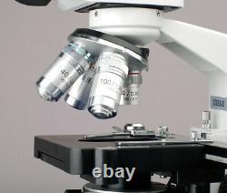 Amscope 40x-2000x Led Binocular Digital Compound Microscope 3d Stage 5mp Caméra