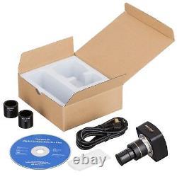 Amscope 5mp Hd Photo / Vidéo Caméra Numérique Usb Microscope + Kit De Diaporama D'étalonnage