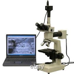 Amscope Me300t-10m 40x-400x Epi Microscope + Metallurgical 10mp Appareil Photo Numérique