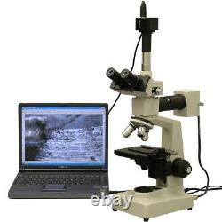 Amscope Me300t-3m 40x-400x Epi Microscope Métallurgique + Appareil Photo Numérique 3mp