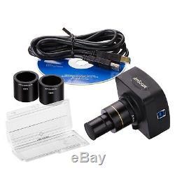 Amscope Mu303-ck 3mp Usb3.0 Microscope Appareil Photo Numérique + Kit D'étalonnage