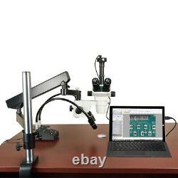 Microscope Stéréo 6.7x-45x + Stand De Bras D'articulat + 6w Led Light + 3.2m Appareil Photo Numérique