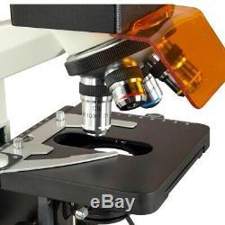 Omax 40x-1600x Trinocular Épifluorescence Lab Microscope Appareil Photo Numérique 10mp