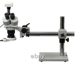 Stéréo Trinacular Boom Stand 5x-60x Microscope Avec Caméra 3mp Et 54 Led Light